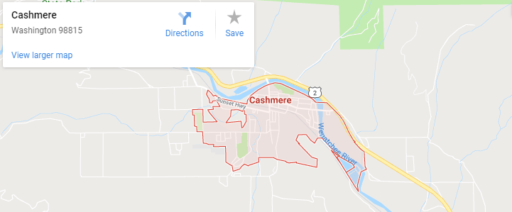 Maps of Cashmere, Mapquest, google, yahoo, driving directions
