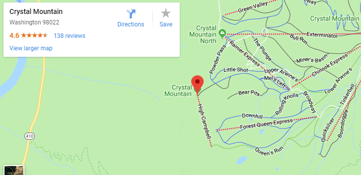 Maps of Crystal Mountain, Mapquest, google, yahoo, driving directions