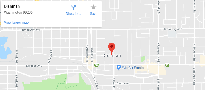 Maps of Dishman, mapquest, google, yahoo, driving directions
