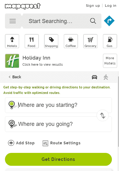 Mapquest Driving Directions - hotel booking